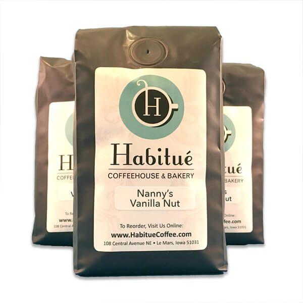 Nanny's Vanilla Nut Coffee - Coffee for sale Habitue Coffehouse in LeMars, Iowa
